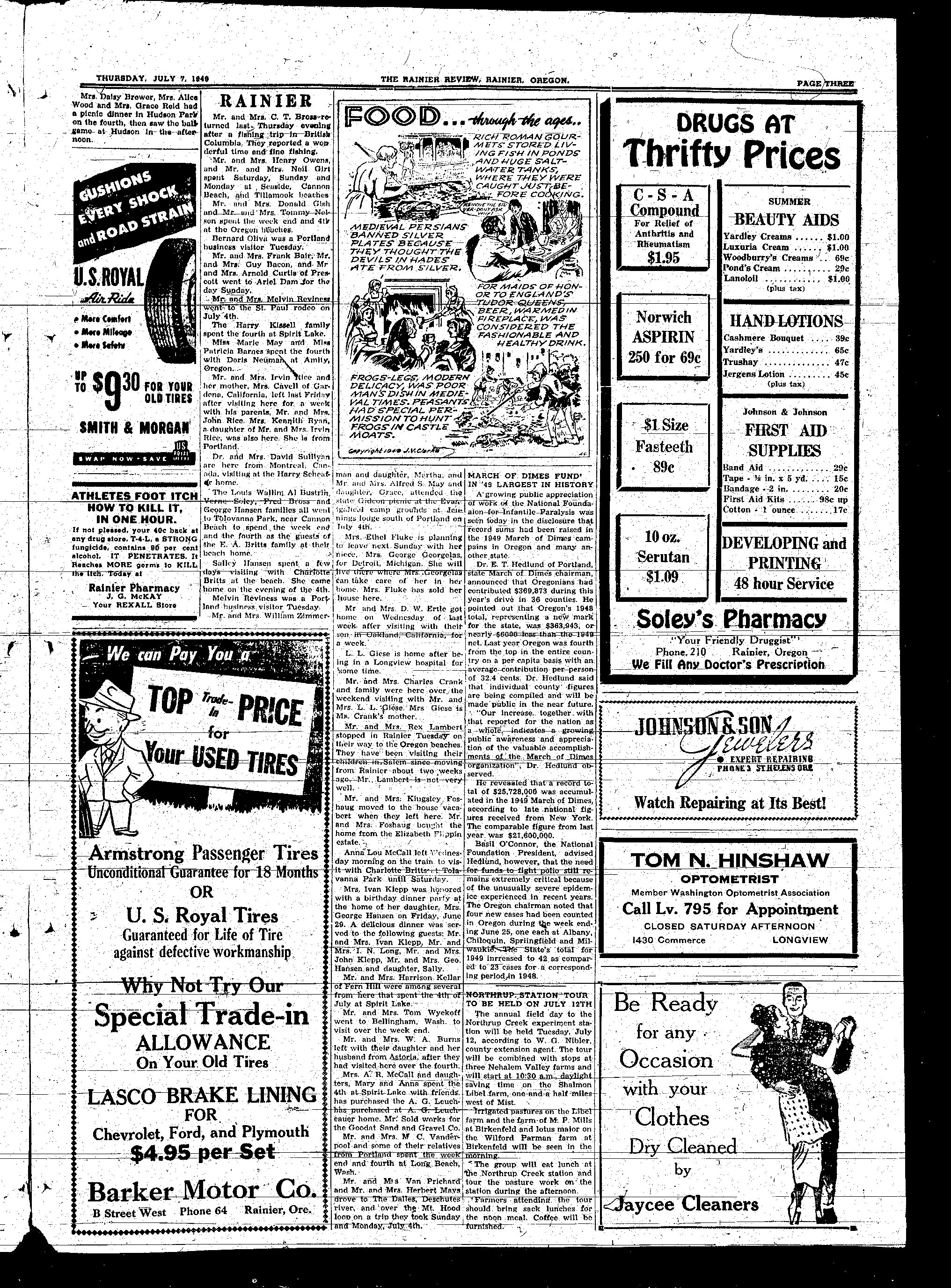 City Of Rainier Review Archive Serutan Double Grade A July 7 1949 Page 2